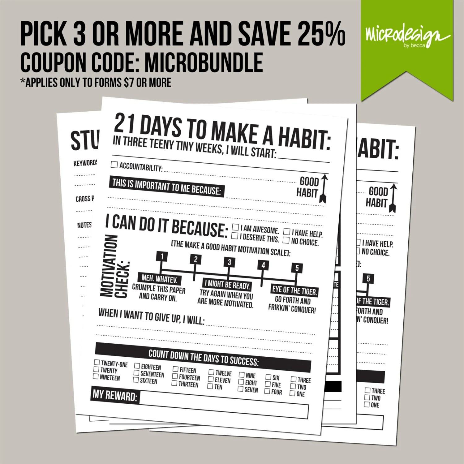 21 Days To Make A Good Habit Printable Sheet By Microdesign