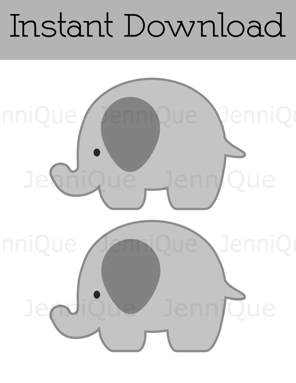 Printable Elephant Party Decor Gray Elephant Cut Out