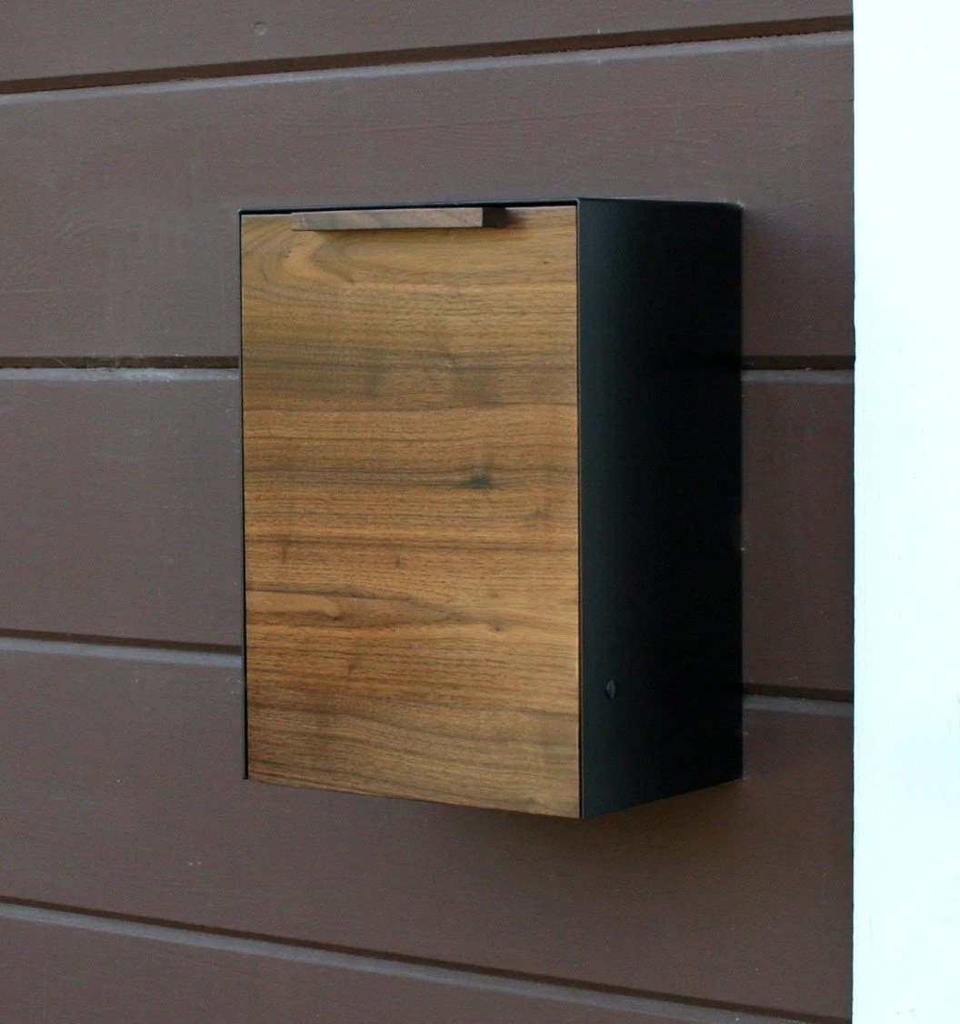Modern Mailbox Walnut Wall Mounted Mailbox Narrow Size