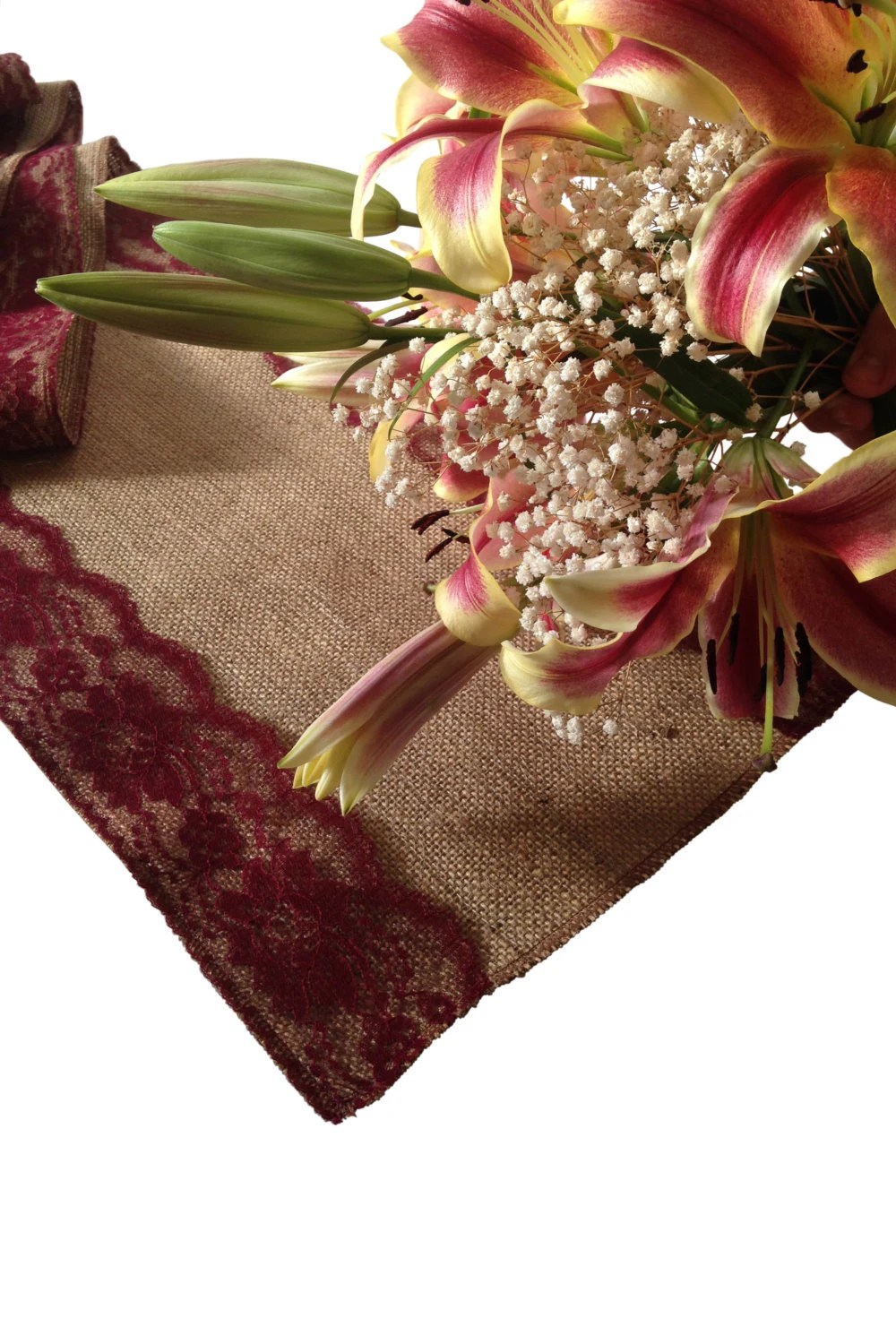 Burlap And BURGUNDY RED Lace Table Runner By DawnWeddingDesigns