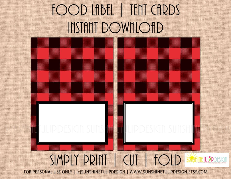 Printable Buffalo Check Tent Cards Buffalo Plaid Red And