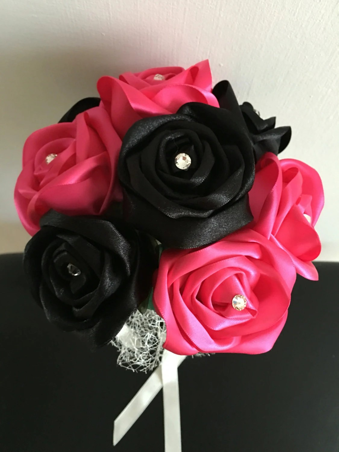 Pink & Black Satin Ribbon...