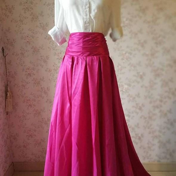 e90eadfd11 New Fuchsia Skirt Maxi Skirt with train Pleated Skirt Women Skirt with  pockets. Hot Pink Skirt Full Pleated Skirt Black Skirt Floor Length