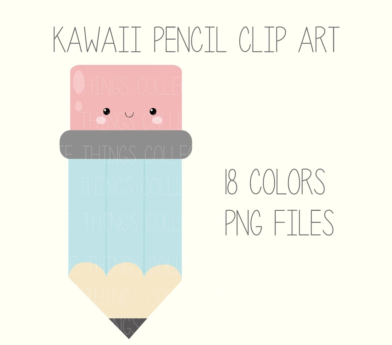 Sale Cute Kawaii Pencil Face Clip Art Digital Planner Sticker Scrapbooking Instant Download