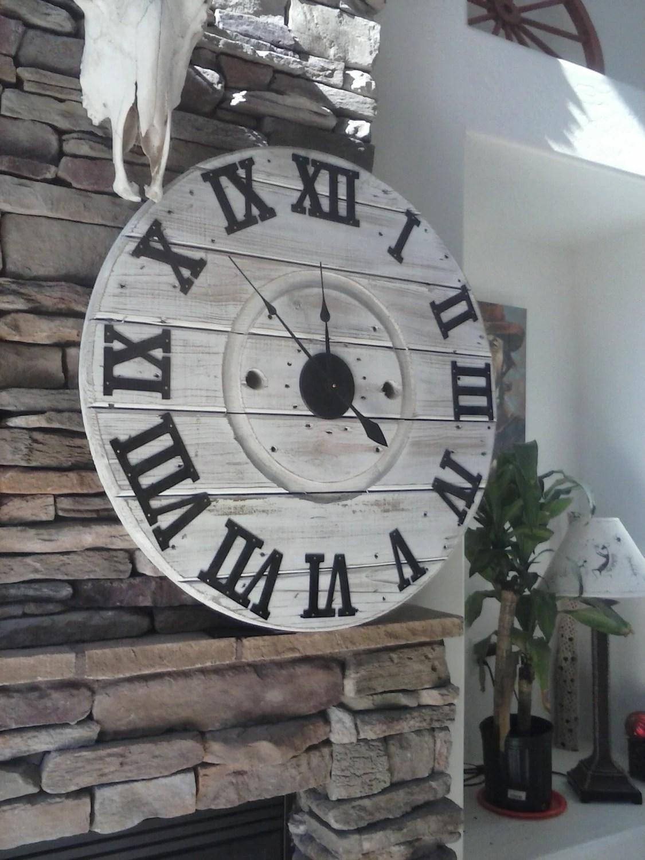 Shiplap Clock Farmhouse Clock Spool Clock Rustic Wall