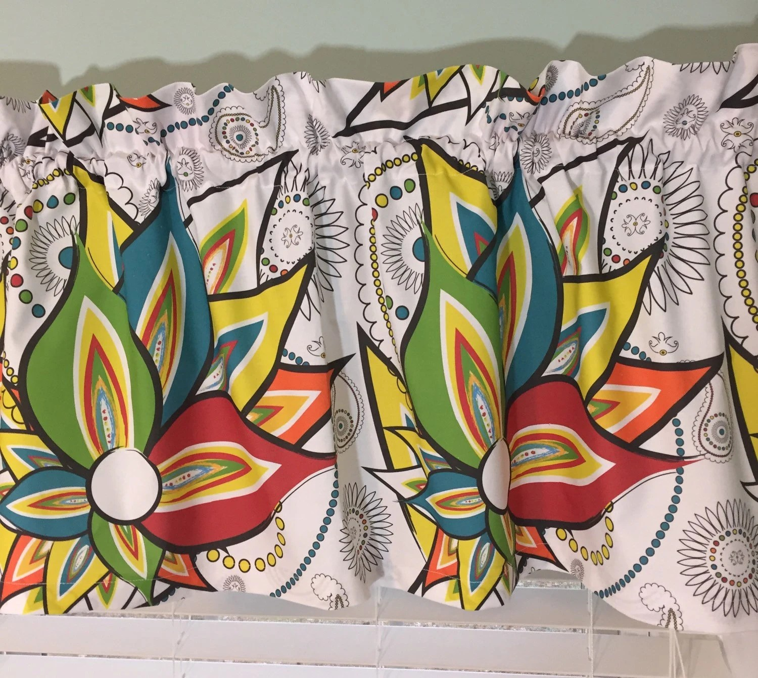 Cafe Curtain Blue Yellow Red Green And Orange Valance For
