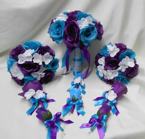 Wedding Silk Flower Bridal Bouquets Package Purple Turquoise