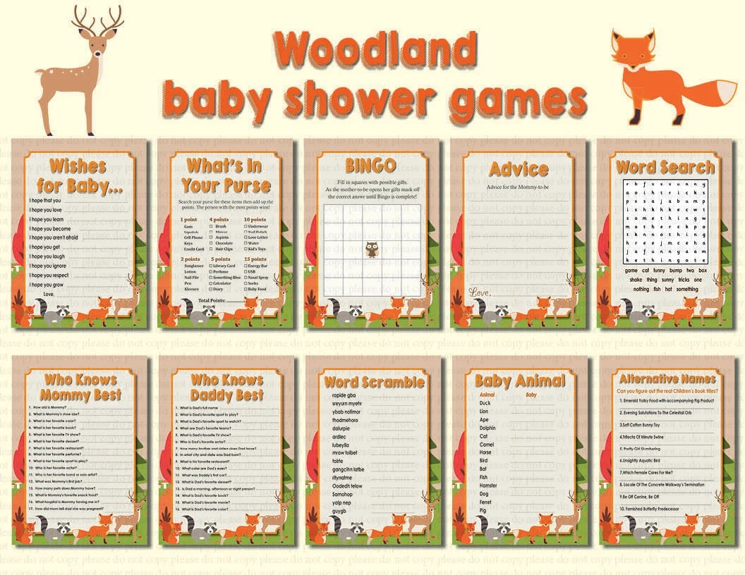 Instant Dl 10 Woodland Baby Shower Games Printable Ready