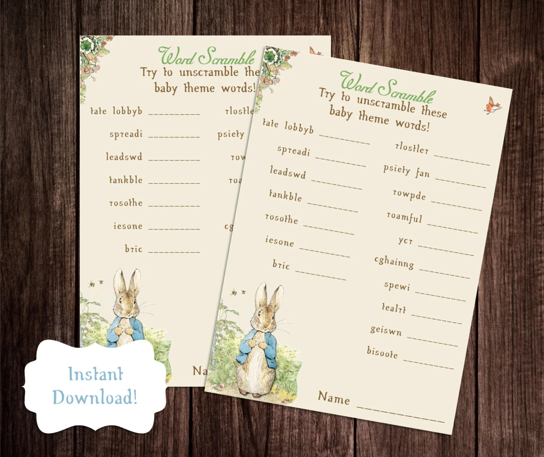 Baby Word Scramble Printable Peter Rabbit Baby Shower Game