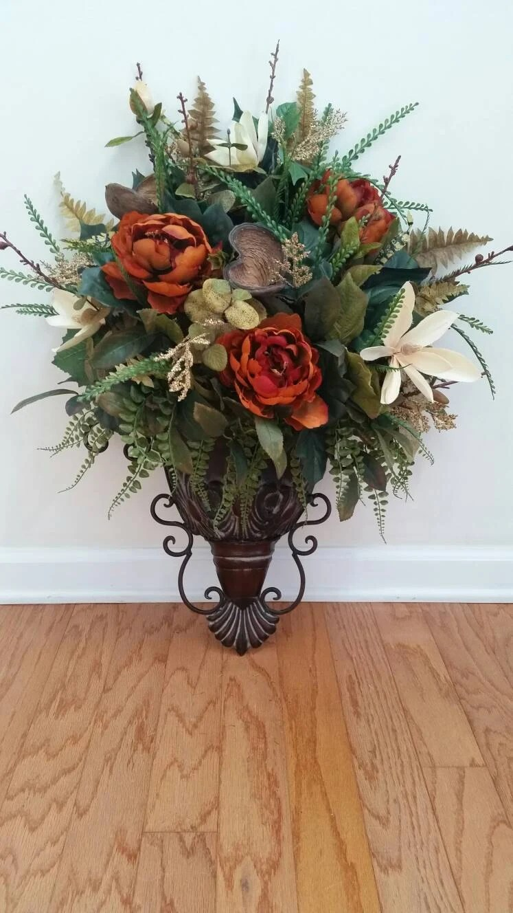 Elegant Traditional Wall Sconce Fall Floral Arrangement Silk on Wall Sconce Floral Arrangements Arrangement id=12556