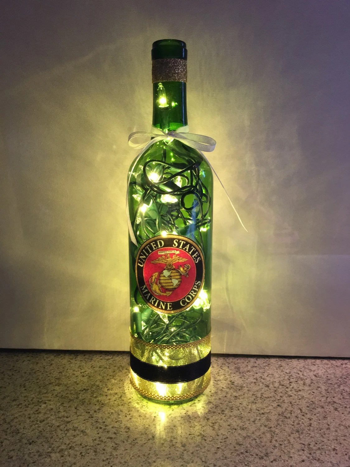 United States Marines Wine Bottle Lamp USMC Bottle Lamp Gift