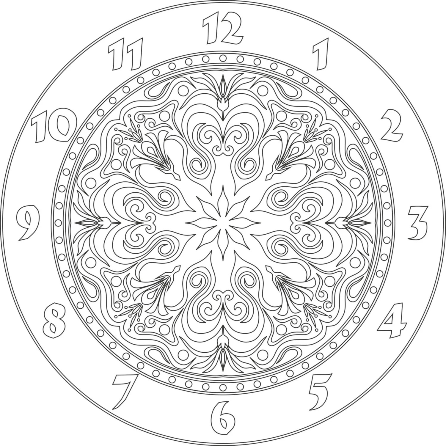 Clock Face Vector File Eps For V Bit Cnc Carving From