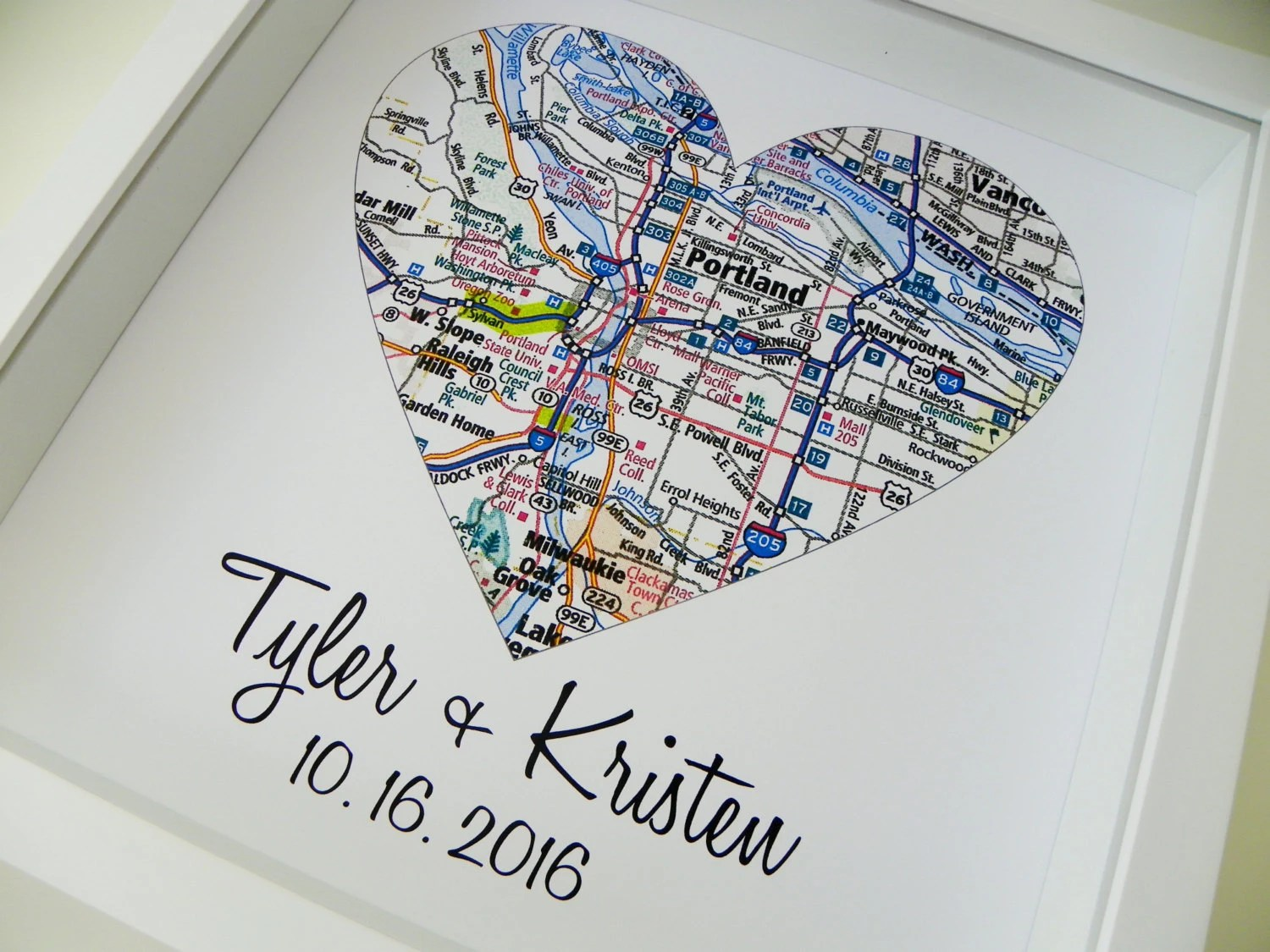 Wedding Gifts Personalized Map Art Heart Map FRAMED Print Any