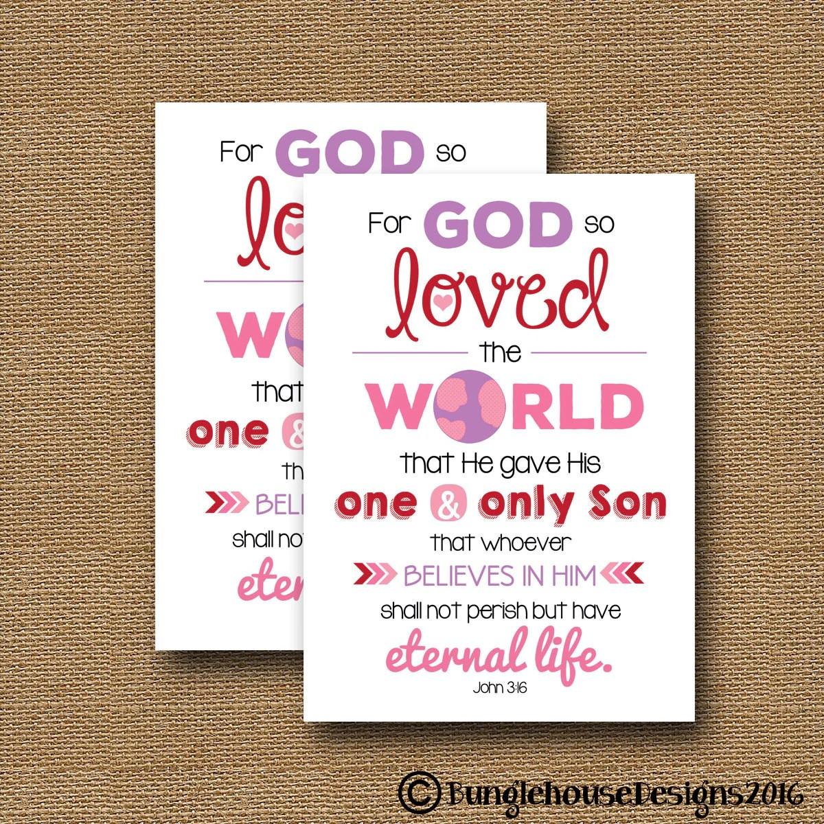 John 3 16 Printable Valentine S Day Card Diy Printable