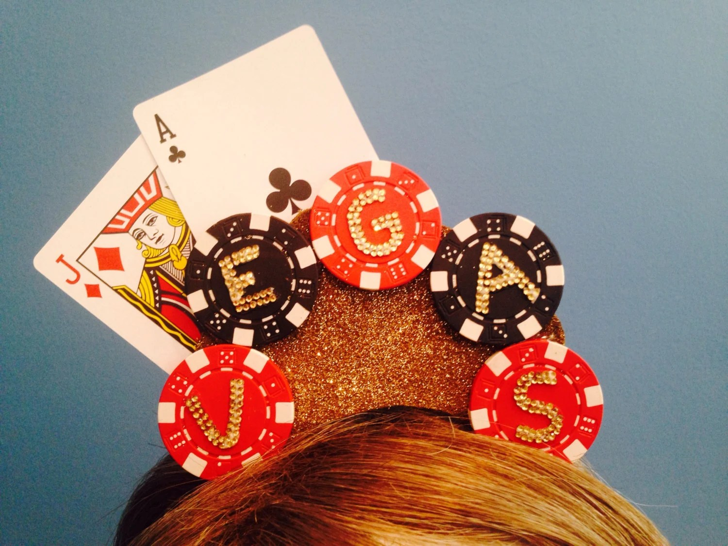 Vegas Headband Poker Chip Playing Card Casino Headpiece