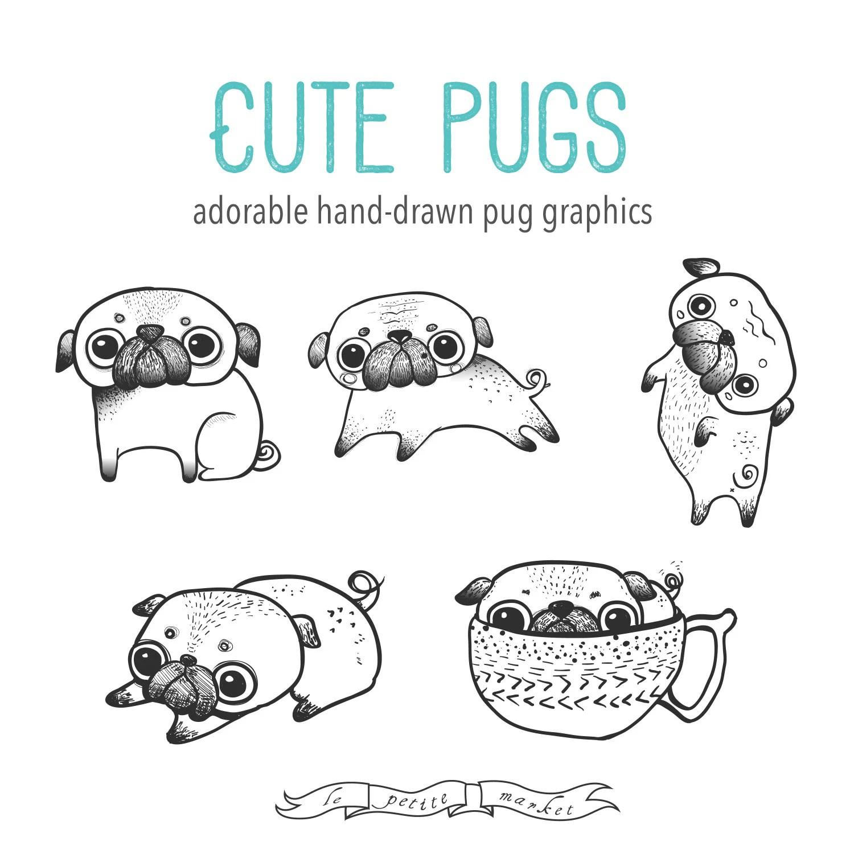 Hand Drawn Cute Digital Pug Clipart Illustration Printable
