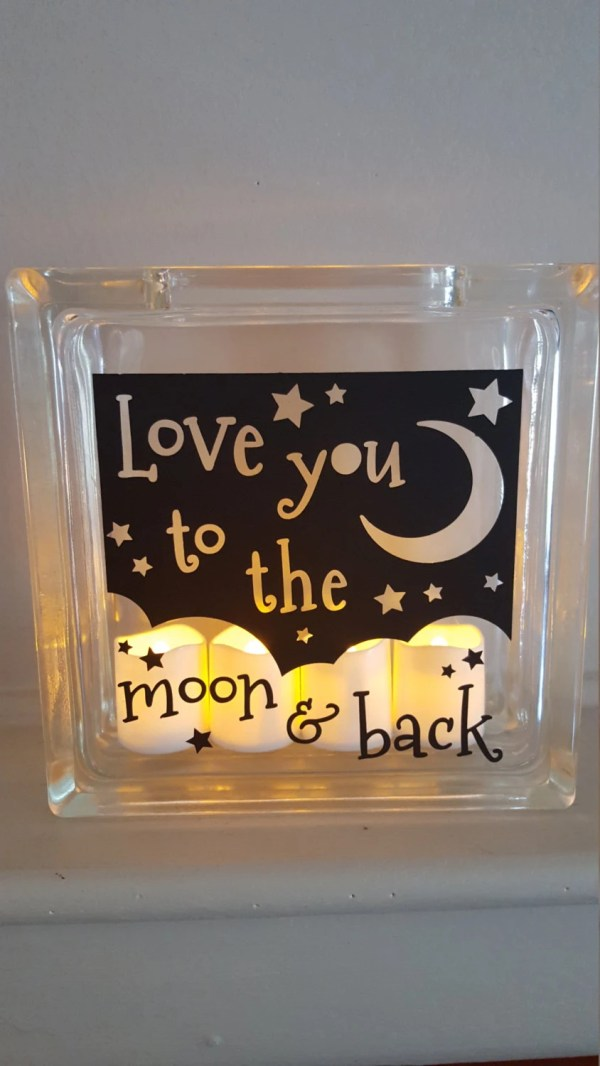 Decorative Frosted Glass Block with I love you to the