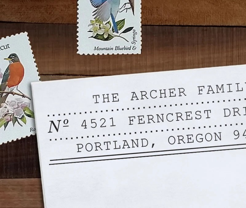 Custom Address Stamp, Return Address Stamp, Wedding address stamp, DIY Wedding, Typewriter,  Self inking or Eco Mount stamp- Archer