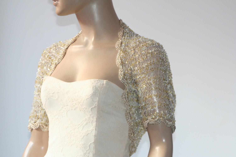 Wedding Bridal Bolero Shrug Lace Crochet Shrug Boleros Gold