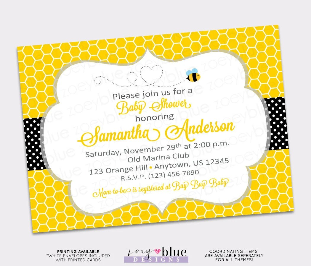 Bumble Bee Bumblebee Baby Shower Printable Invitation