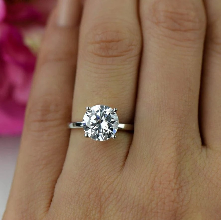 3 Ct Classic Solitaire Engagement Ring Man Made Diamond