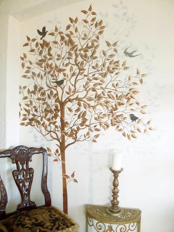 Wall Stencil Large Tree Stencil FREE Birds Stencil Wall