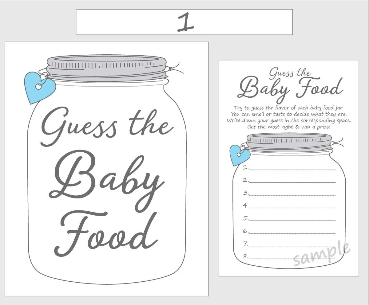 Guess The Baby Food Printable Baby Shower Game Blue Boy