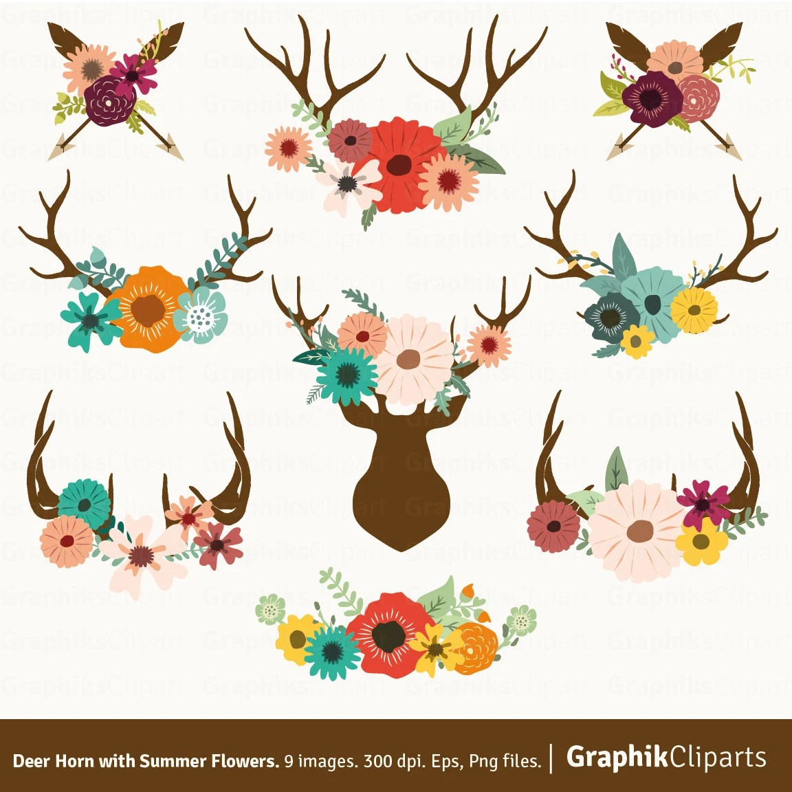Deer Horn With Summer Flowers Floral Antlers Clip Art Rustic