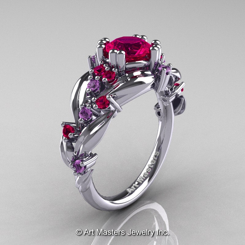 Nature Classic 14K White Gold 10 Ct Rose Ruby Lilac Amethyst