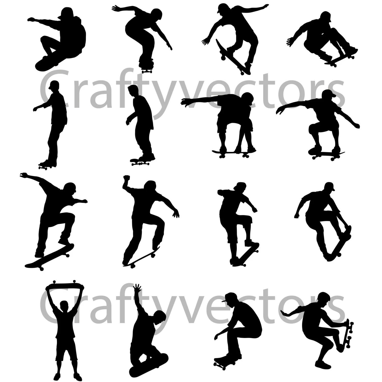 Skateboarding Silhouettes Vector Svg Cut File