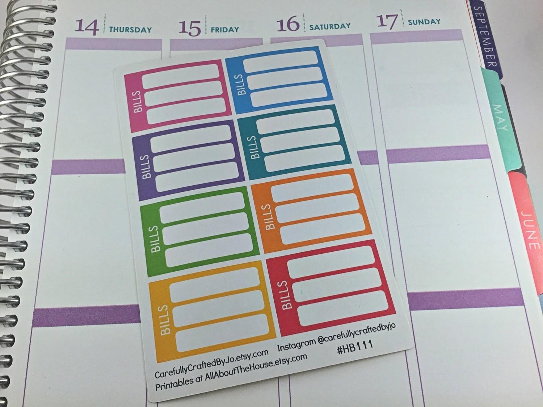 bill due planner stickers, sidebar, half box, stackable, erin condren, kikki k, filofax, personal, rainbow, ec, life planner, vertical, money, functional, list