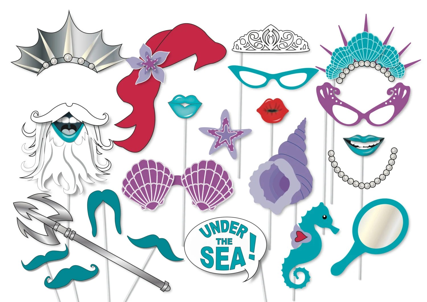 Mermaid Party Photo Booth Props Printable Under The Sea