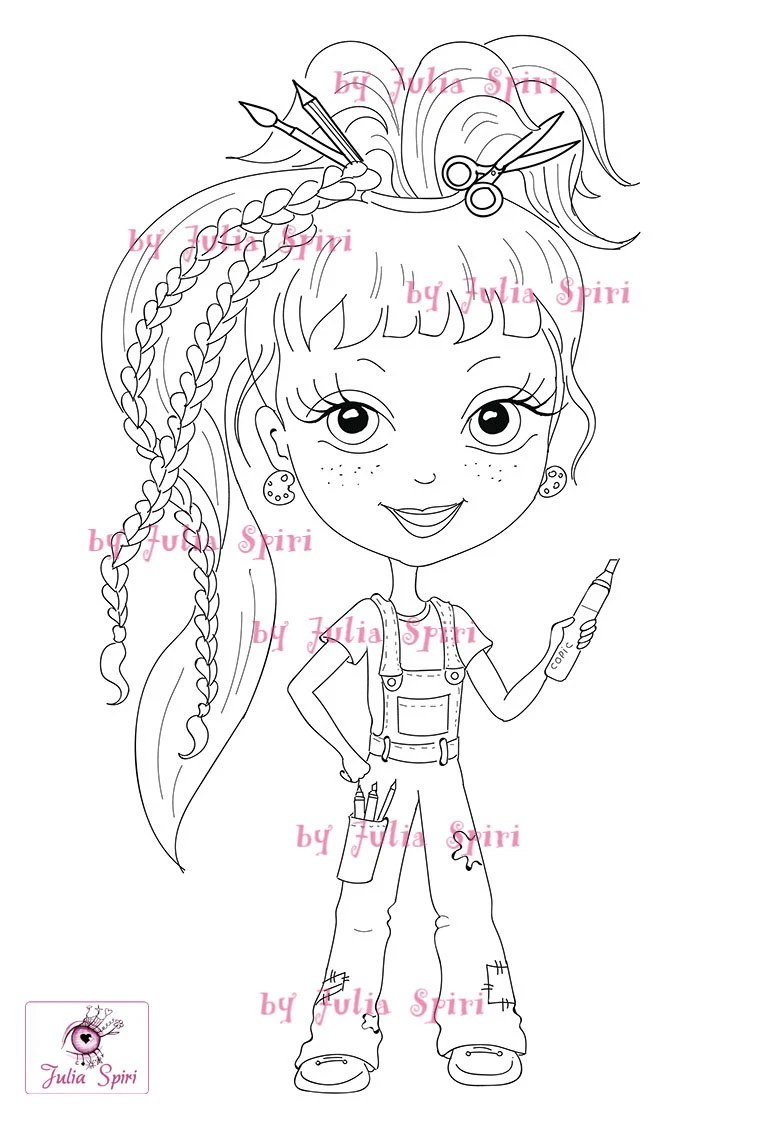 Digital Stamps Girl Stamps Digi Craft Big Eyes Cute