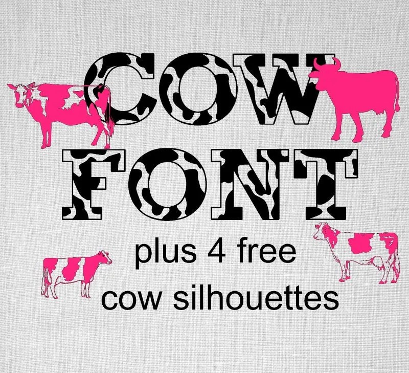 Download cow Font svg cow spots Alphabet kids party by OhThisDigitalFun