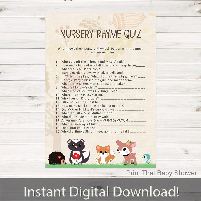 Baby Shower Games Nursery Rhyme Quiz Game Woodland Baby