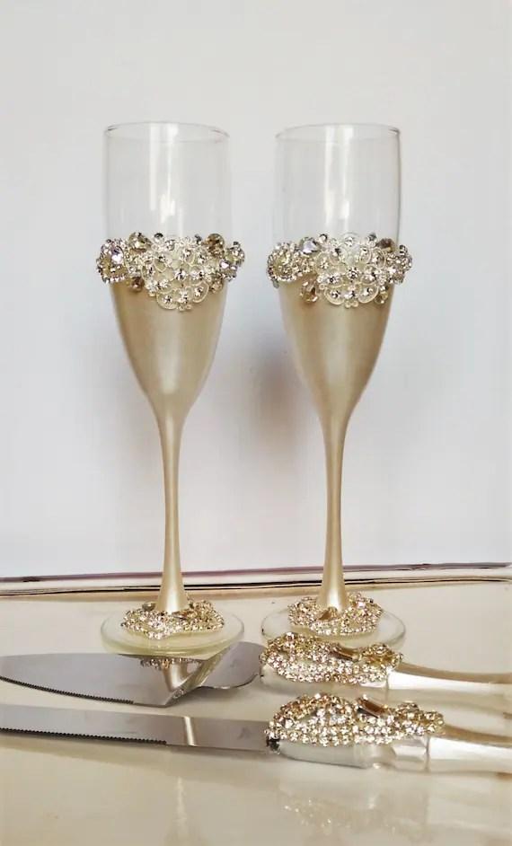 Wedding Glasses And Cake Server Set Cake By WeddingArtGallery