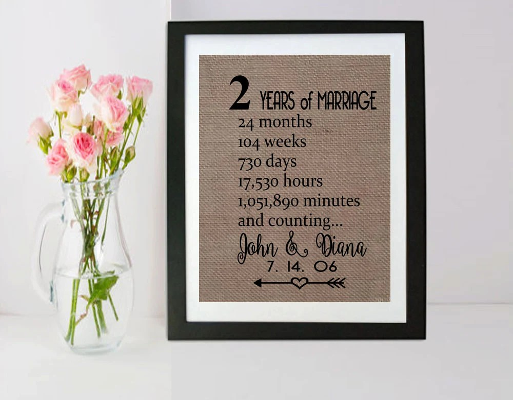 2 Years And Counting Anniversary Burlap Frame 2nd