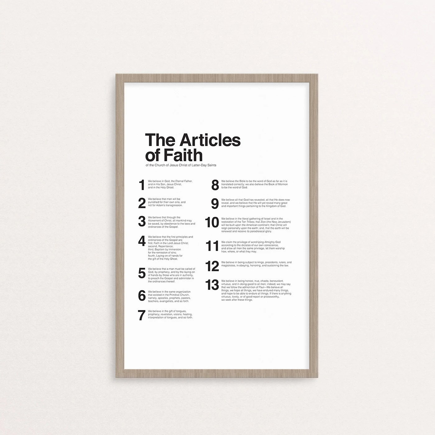 Articles Of Faith Printable Only 4 Sizes