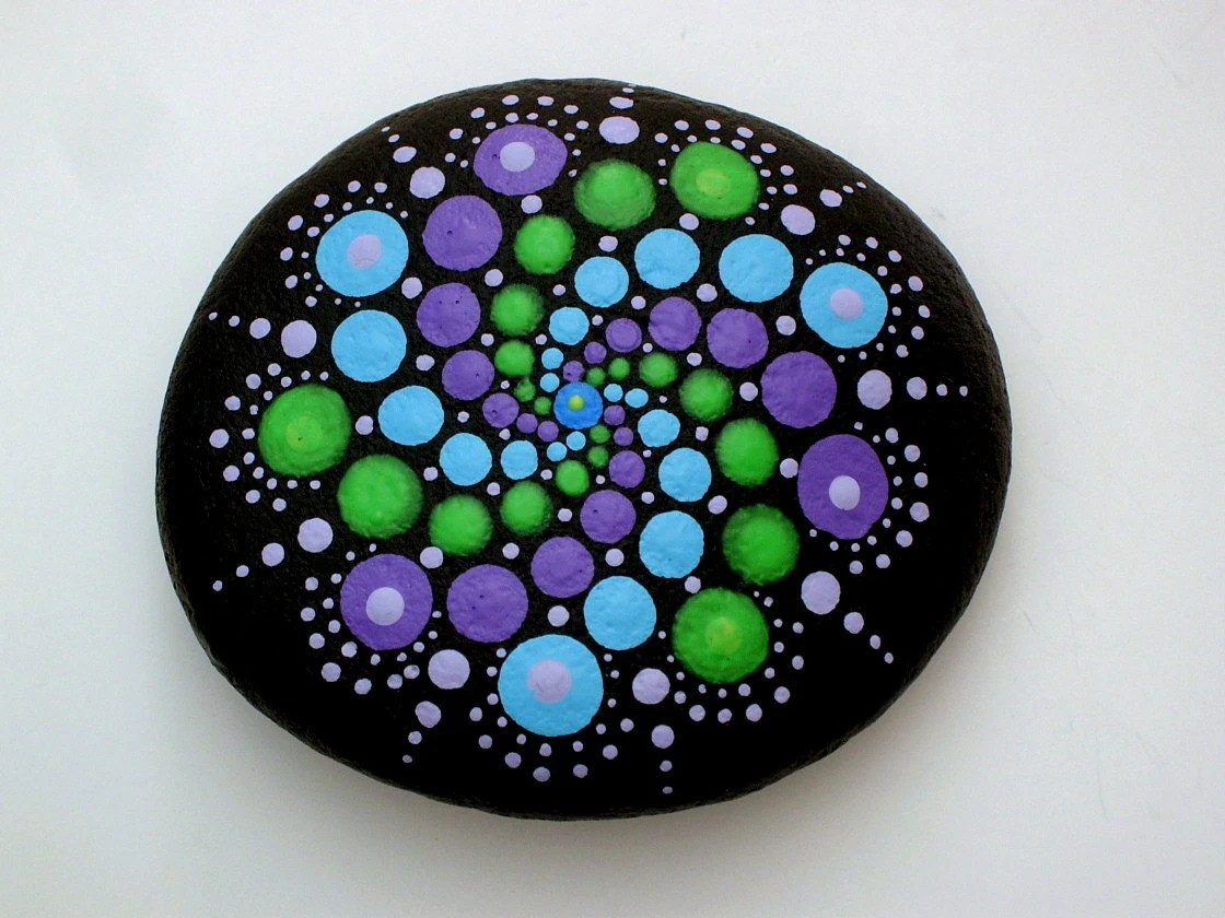 Boho Chic Decor Hippie Dot Art Mandala Stones Etsy Painted