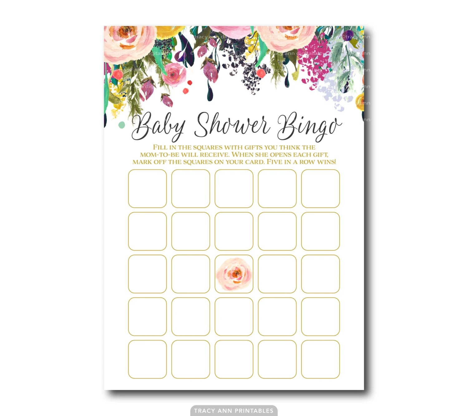 Floral Baby Shower Bingo Game Baby Shower Bingo Printable