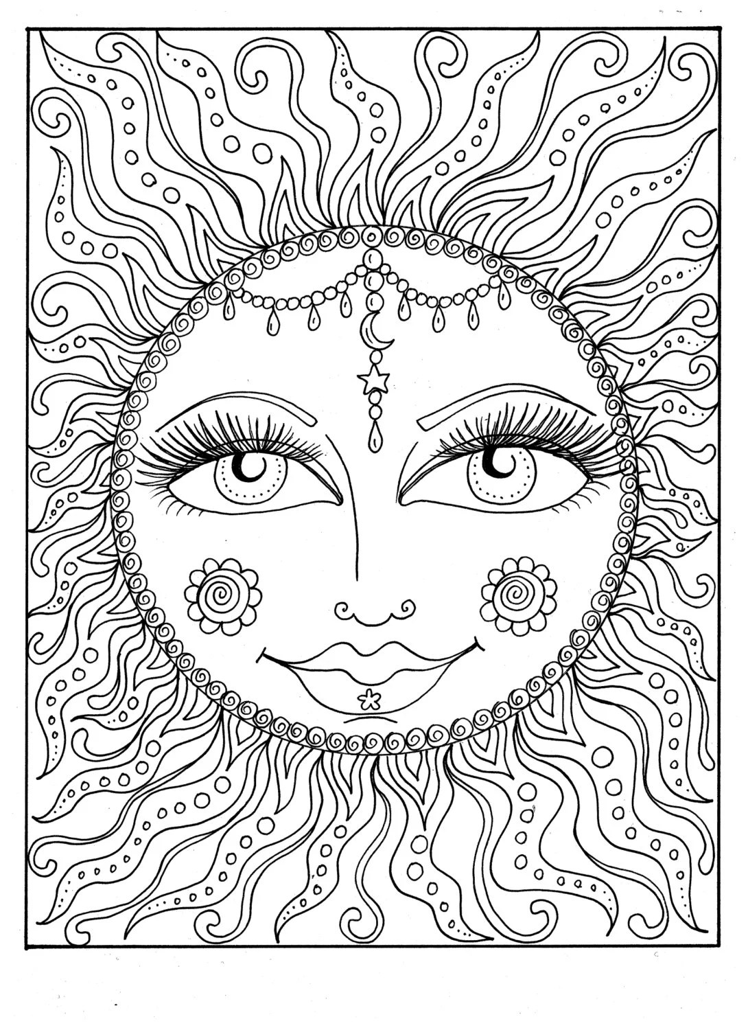 Instant Download Sun Summer Coloring Page Adult Coloring Page