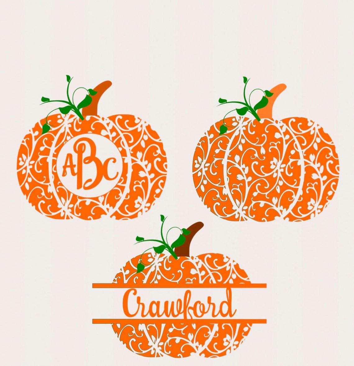 Download Fall Pumpkin SVG, DXF, EPS, circle monogram Frame cutting ...