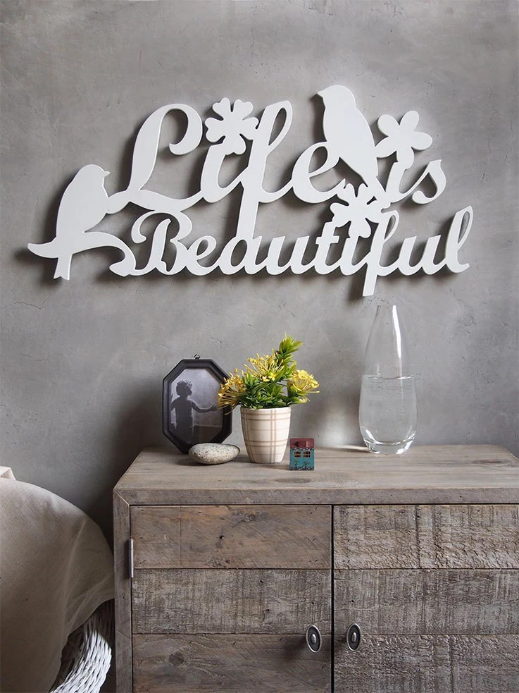 Wall decor sign cut out word Life is beautiful on Home Wall Decor Signs id=76896