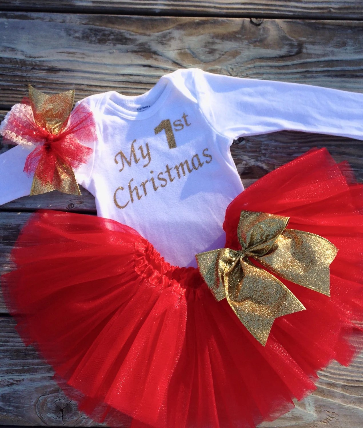 MY FIRST CHRISTMAS Outfit Babys First Christmas Outfit