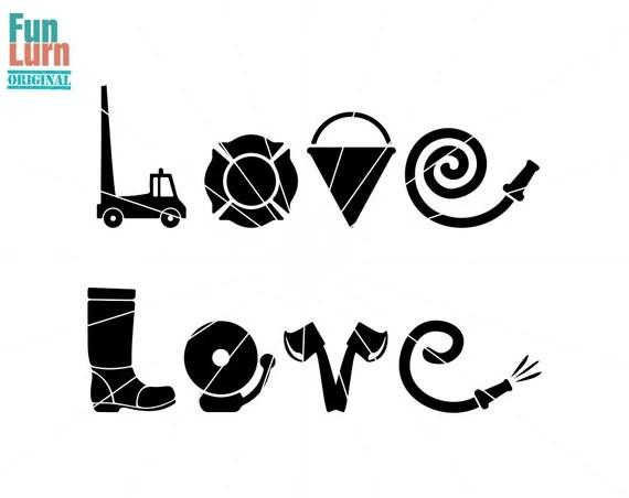 Download Firefighter Love SVG , fire truck, pail, hose, bell,axe ...