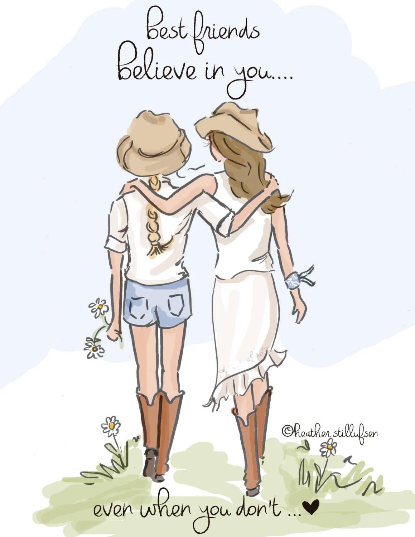 Best Friend Illustration Best Friends Believe In You Art