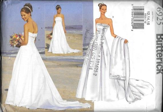 Butterick 6925 Corset Strapless Wedding Dress Ball Gown
