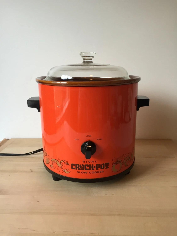 Vintage Rival Crock Pot Slow Cooker Orange Pot Food Warmer
