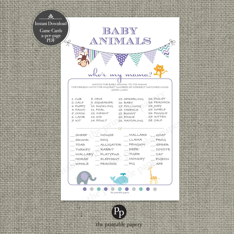 Printable Animal Matching Game Baby Shower Baby To Mom