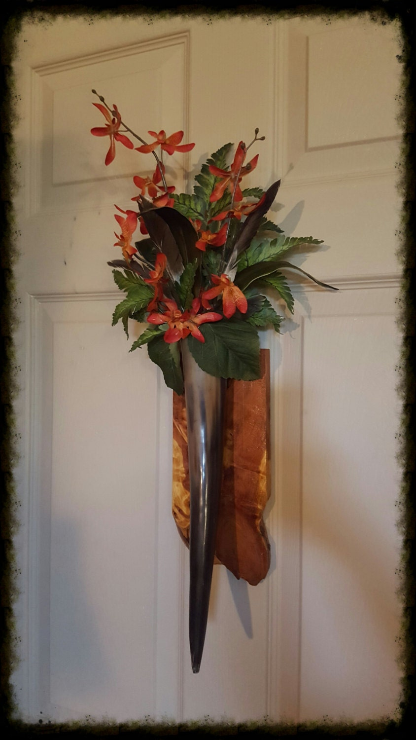 Cow Horn Floral Arrangement Wall Sconce on by TailsEndFlorals on Wall Sconce Floral Arrangements Arrangement id=38568